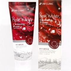 3W Clinic Rose Water Foam Cleansing Пенка для умывания с розовой водой 100мл