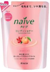 Kracie Naive Кондиционер с экстрактом персика и маслом шиповника (рефил) 400мл
