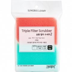 Sungbo Triple Filter Scrubber Скруббер-мочалка для мытья посуды набор 11.5х7.5х2.5 2шт
