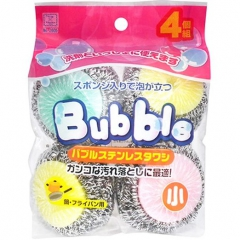 Kokubo Bubble Набор кухонных губок со стальной спиралью в сеточке 4шт 4шт