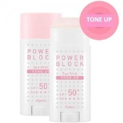 A'pieu Power Block Tone Up Sun Stick Pink Осветляющий солнцезащитный стик SPF50+/PA++++ 15мл