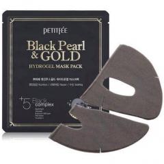 Petitfee Black Pearl & Gold Hydrogel Mask Pack Гидрогелевые маси для лица с жемчугом и золотом 5шт