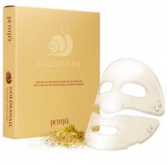Petitfee Gold&Snail Transparent Gel Mask Pack Гидрогелевые маски для лица с золотом и улиткой 5шт
