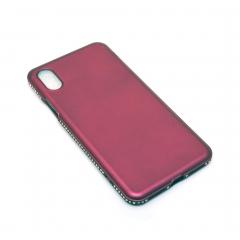 Чехол для iPhone X DLED бордовый со стразами