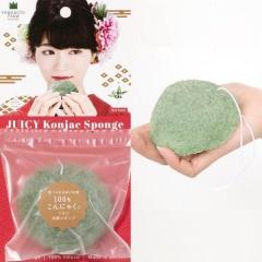 Yamamoto Спонж конняку для умывания лица с экстрактом зеленого чая (блистер) 1шт