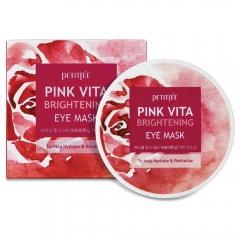 Petitfee Pink Vita Brightening Eye Mask Патчи с комплексом витаминов для сияния кожи 60шт