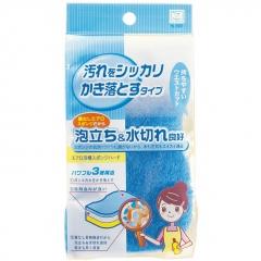 Kokubo Aero sponge Трехслойная жесткая губка для ванной . Голубая