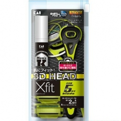 Kai X-fit Набор: бритвенный станок, 2 сменных лезвия и пена для бритья 12г