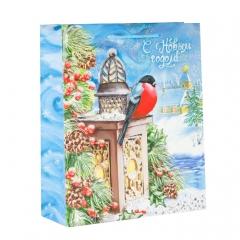 GiftPack Новогодний огонек Пакет ламинат вертикальный с тиснением, 18х23х8см