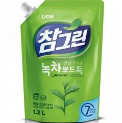 CJ Lion Chamgreen Green Tea Средство для мытья посуды и овощей с ароматом зеленого чая (рефил) 1150м
