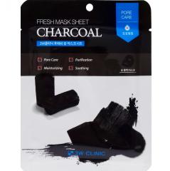 3W Clinic Fresh Charcoal Mask Sheet Тканевая маска для лица с древесным углем 23мл