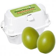 """Holika Holika Egg soap 2 в 1: Мыло-маска ручной работы """"Зеленый чай"""" 2шт"""
