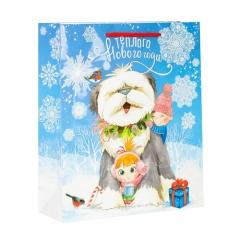 GiftPack Теплого Нового года! Пакет ламинат вертикальный с блестками, 23х27х8см