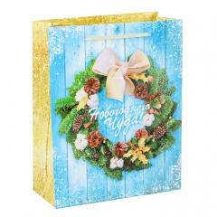 GiftPack Новогодний венок Пакет ламинат вертикальный, 23х27х8см