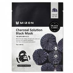 Mizon Charcoal Solution Black Mask Тканевая маска для лица c древесным углем 25мл