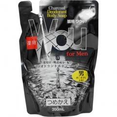 Kumano Charcoal Deodorant Body Soap Мужское жидкое мыло для тела c древесным углем (рефил) 350мл