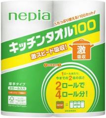 Nepia Кухонные бумажные полотенца 100 листов 2шт