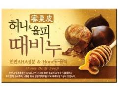 Mukunghwa Honey Body Soap Отшелушивающее и увлажняющее мыло с медом и скорлупой каштанов 100г