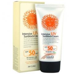 3W Clinic Intensive UV Sun Block Cream Солнцезащитный крем SPF50+/PA+++ 70мл
