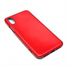 Чехол для iPhone X DLED красный со стразами