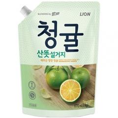 CJ Lion Chamgreen Средство для мытья посуды, овощей и фруктов (зелёный цитрус) 970мл
